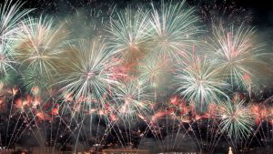 Fireworks lit up the waterfront at midnight Monday, Dec. 31 2007, in Funchal, in the Portuguese Atlantic Ocean island of Madeira. (AP Photo/Octavio Passos)